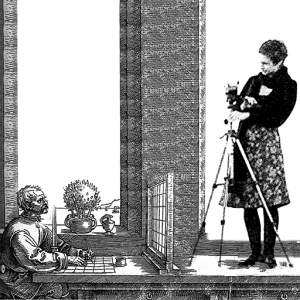 The artist Katharina Struber imposed on an old engraving of Duerer